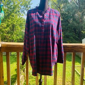 Lands' End Dark Blue & Red Plaid Pullover Top